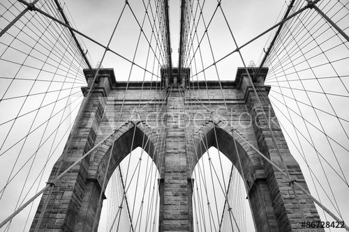 Brooklyn Bridge New York City close up architectural detail in timeless black and white - 86728422